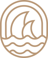 Hand-drawn logo in brown colour of a wave with two sails on the water